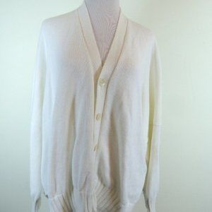 Eskandar white cotton cardigan sweater OSFM